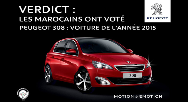 la peugeot 308 est la voiture de l ann e 2015 au maroc news f line. Black Bedroom Furniture Sets. Home Design Ideas