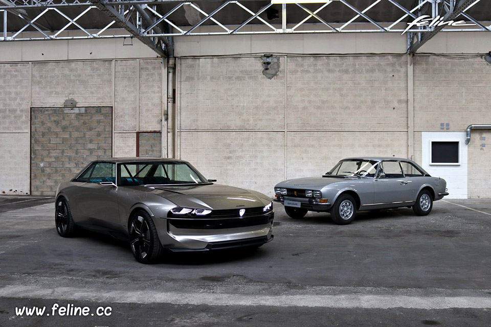 Photo Peugeot 504 Coupé et Peugeot e-Legend Concept (2018)