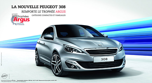 troph es argus 2014 1er prix pour la peugeot 308 2 me. Black Bedroom Furniture Sets. Home Design Ideas