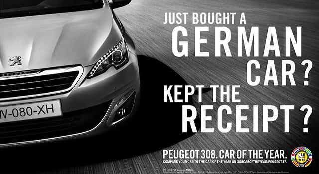 Publicités Peugeot 308, la Voiture de l'Année 2014 se compare…