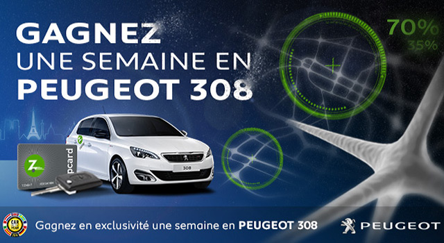 gagnez une semaine en peugeot 308 avec zipcar news f line. Black Bedroom Furniture Sets. Home Design Ideas