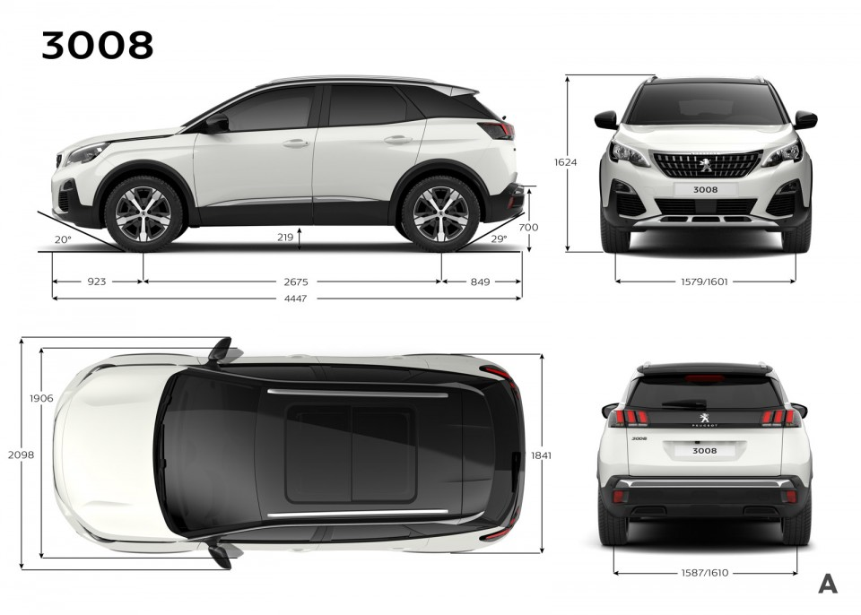 Photo dimensions ext rieures mm peugeot 3008 ii 2016 for 1 5 dimensioni del garage