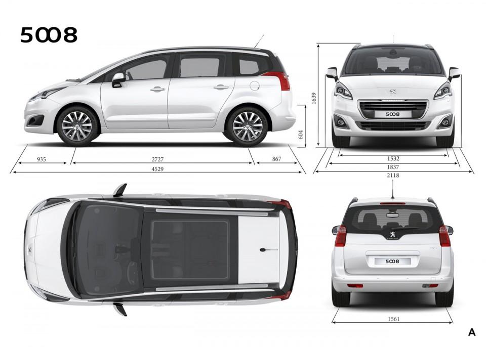 Dimensions extérieures Peugeot 5008 I phase 2 (2013) - 1 ...
