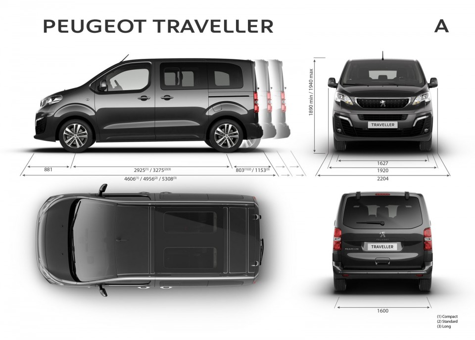 photo officielle dimensions ext rieures peugeot traveller. Black Bedroom Furniture Sets. Home Design Ideas